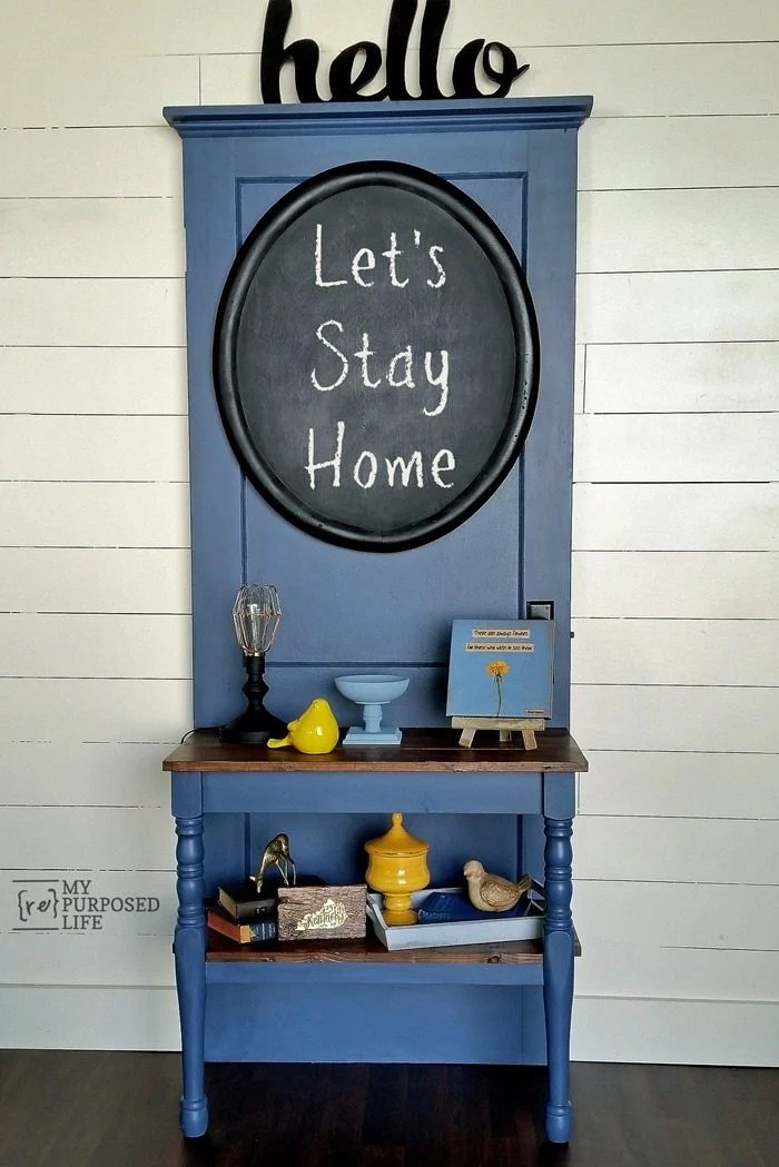 diy entry table repuposed door halltree MyRepurposedLife.com