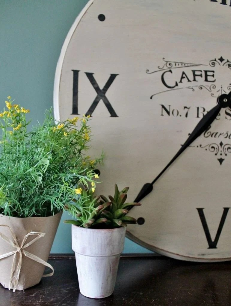 how to make a farmhouse clock out of a table top