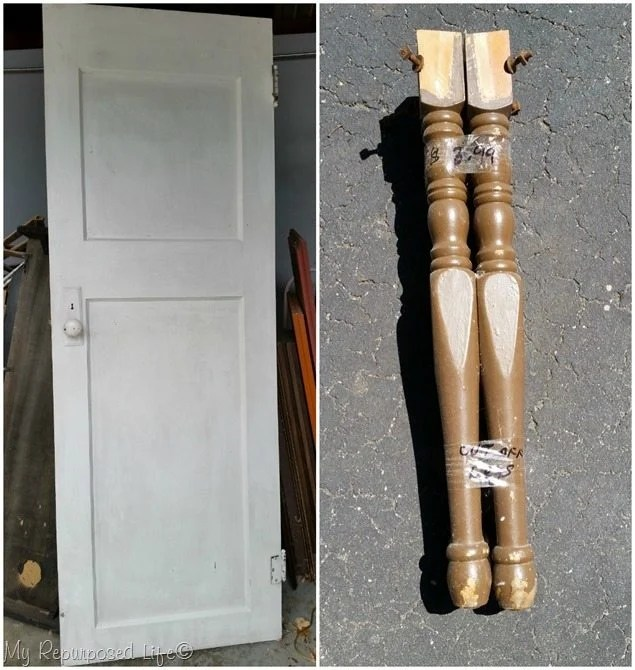 old door and table legs