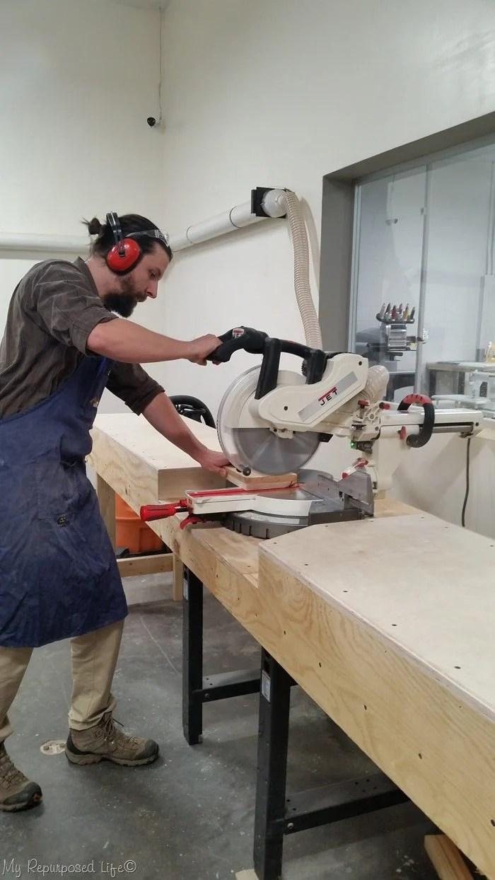 roger on the miter saw Maker13