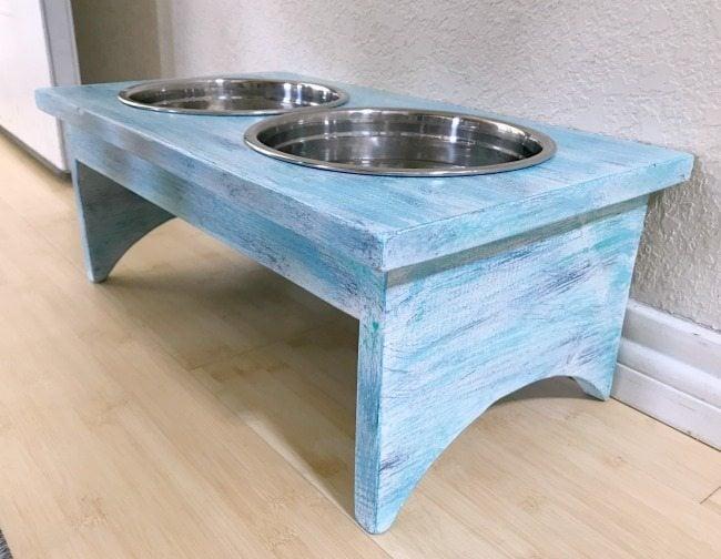 side shot of diy dog bowl holder