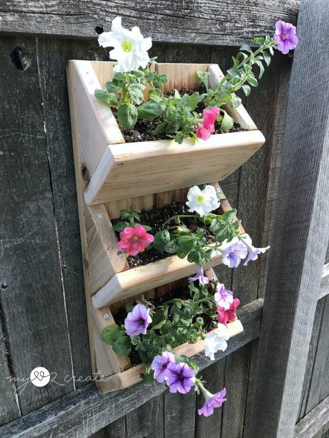 Top view of cedar wall planter