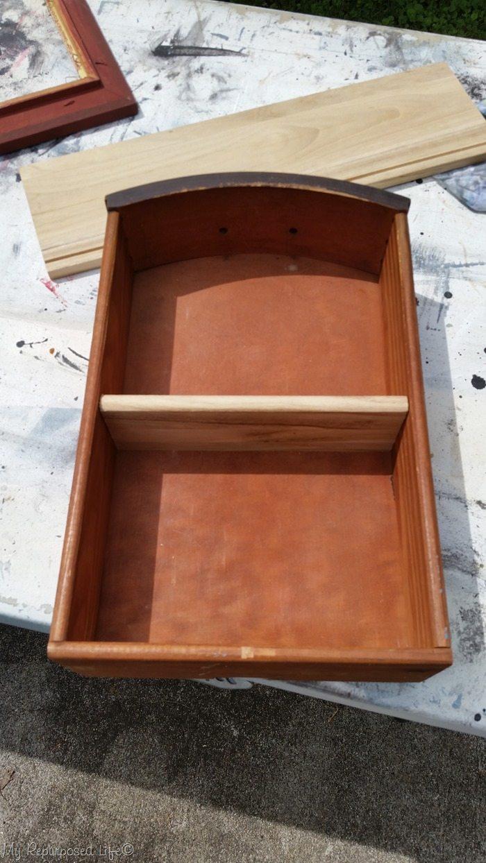 add shelf to small vintage drawer