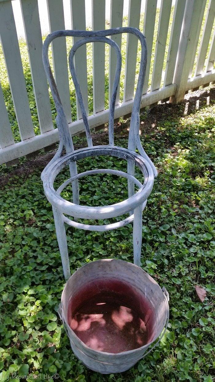 bottom less chair galvanized bucket