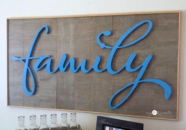 family framed wood sign