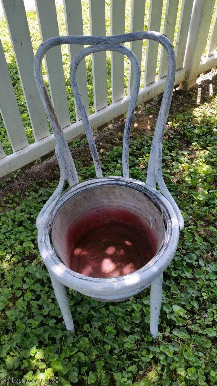 galvanized bucket chair planter