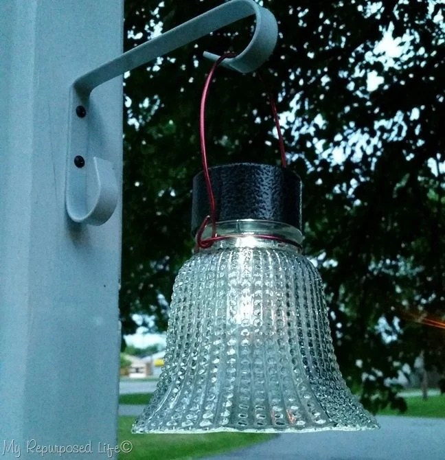 glass globe solar light made from ceiling fan shade
