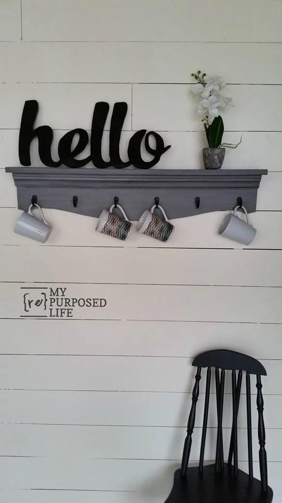 gray glazed wooden kitchen shelf for coffee cups MyRepurposedLife.com