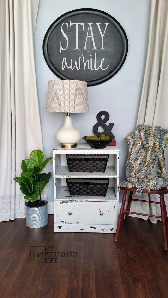 repurposed nightstand guest room