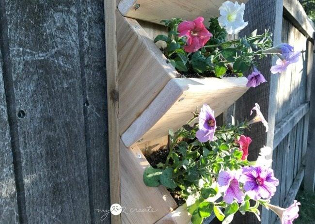 side view of cedar wall planter