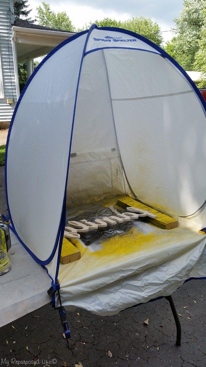 spray paint family sign homeright small spray shelter