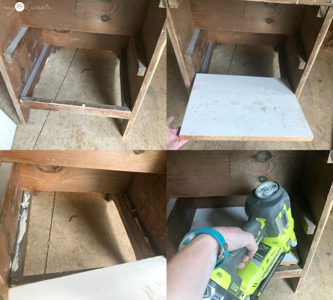 Attach shelf to back of step stool