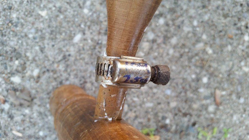 alternate view using hose clamp to repair broken spindle