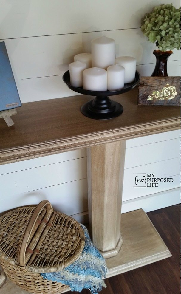 antique glazed double column console sofa table MyRepurposedLife.com