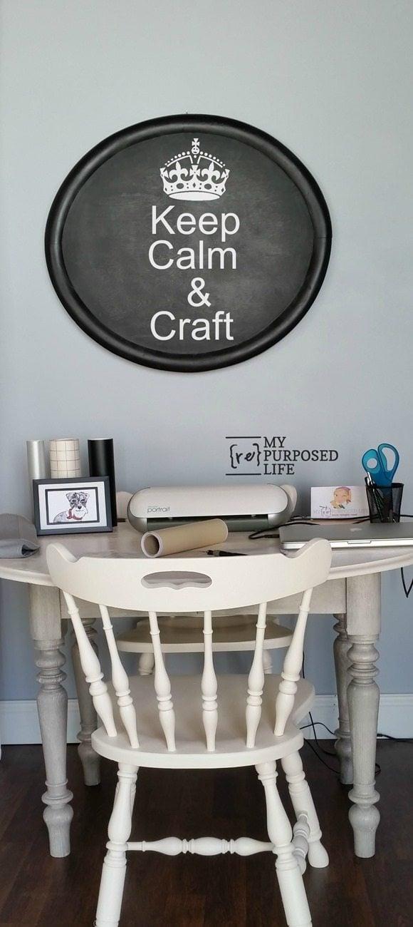 old oak table redo into craft table MyRepurposedLife.com