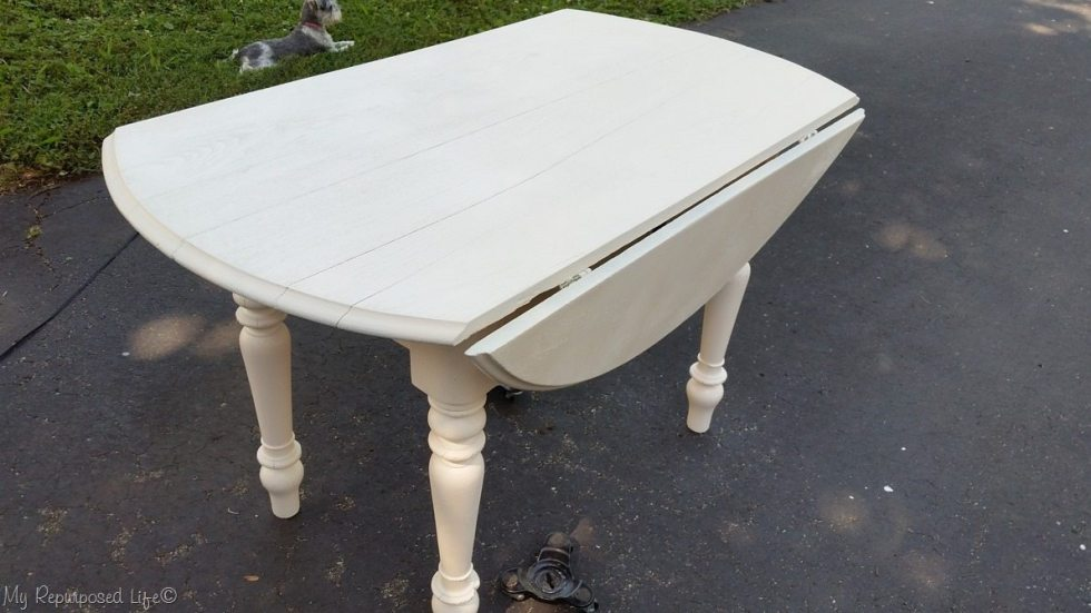 painted old oak craft table