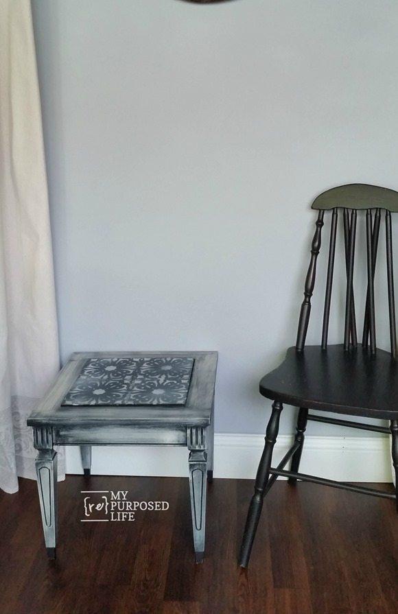 small stenciled mid century modern side table MyRepurposedLife.com