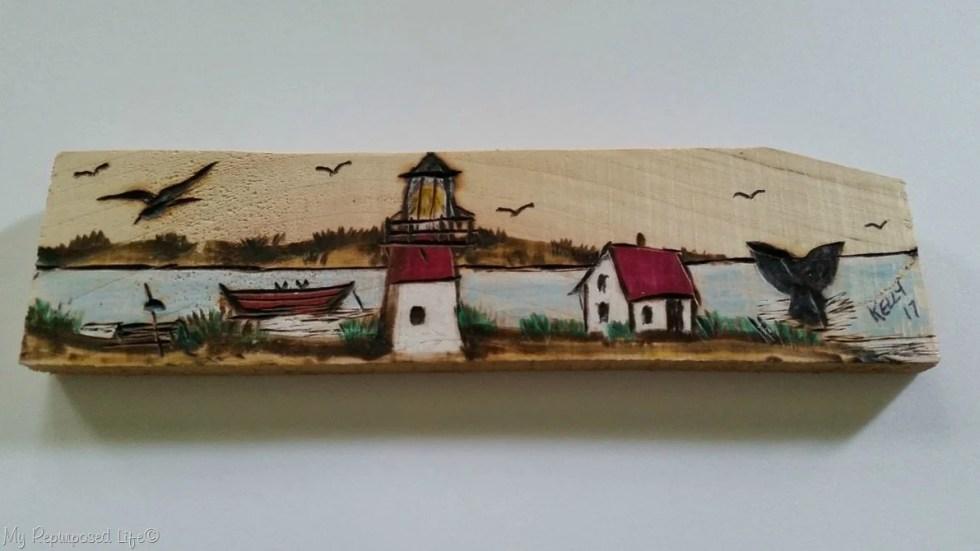 wood burning by Kelly Nauset Light Cape Cod