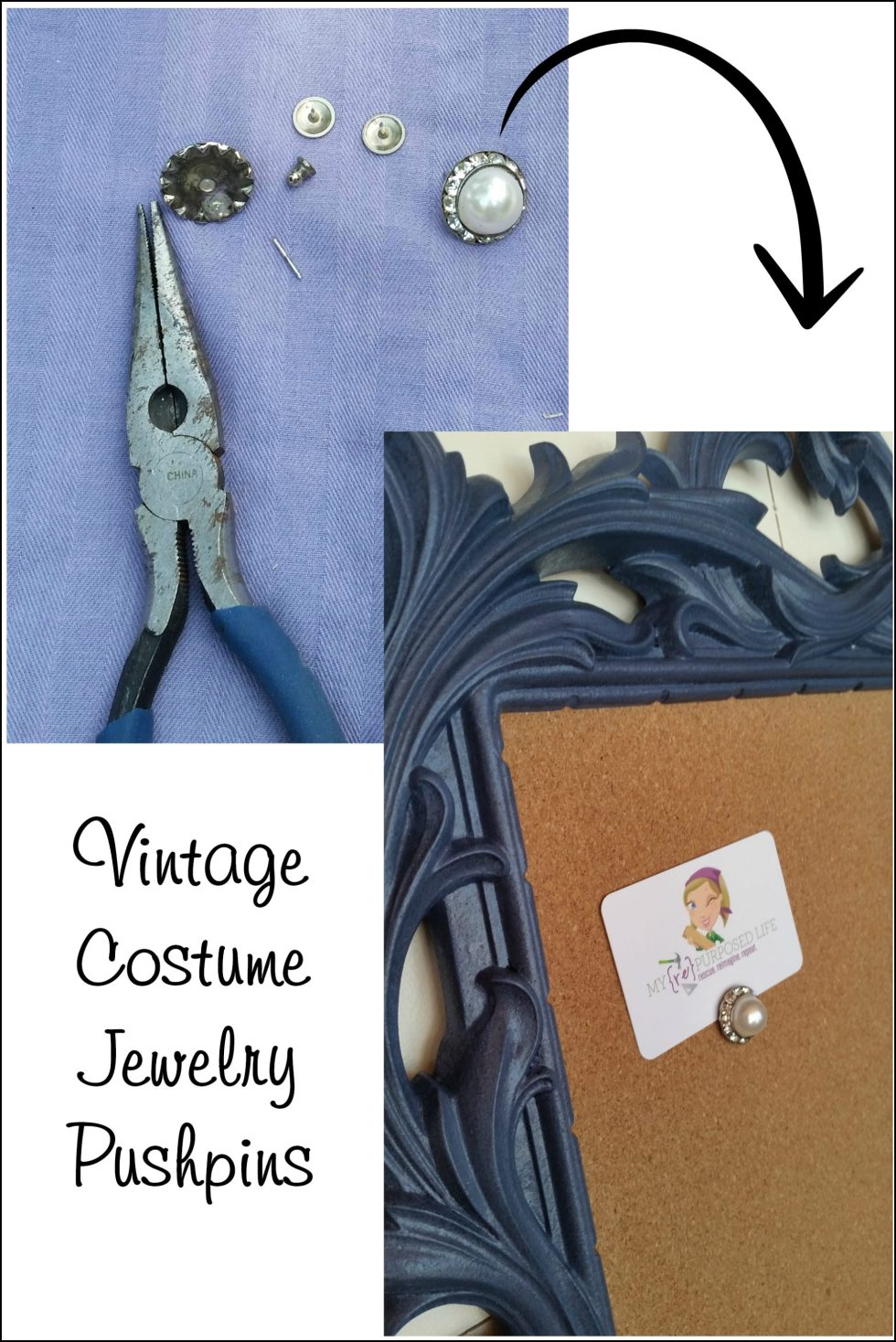 How to make pretty pushpins from vintage costume jewelry