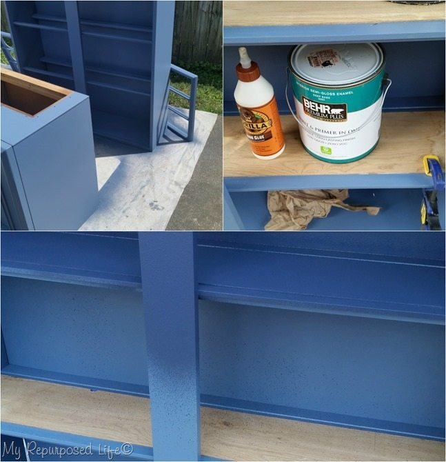 add shelves navy mcm hutch
