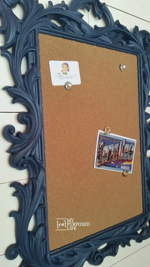diy cork board fancy gold mirror frame transformation MyRepurposedLife.com