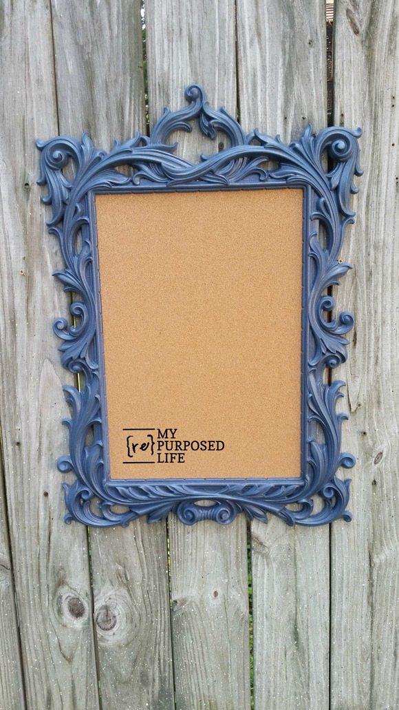 former gold mirror frame blue fancy framed cork board MyRepurposedLife.com