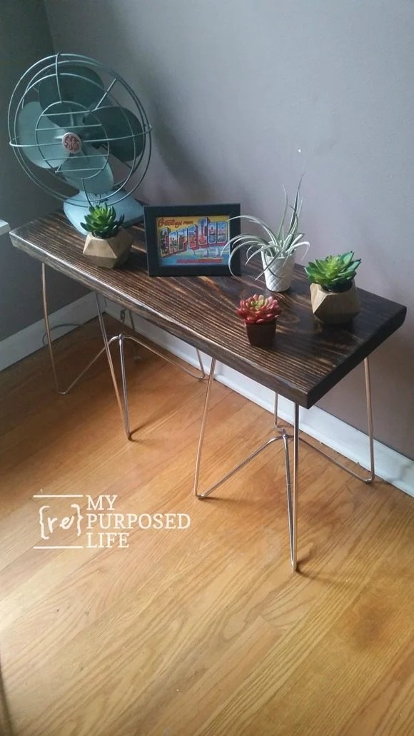 long side table with metal legs MyRepurposedLife.com