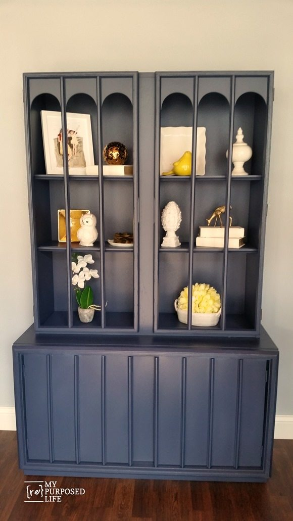 mid century modern thrift store hutch navy blue makeover MyRepurposedLife.com