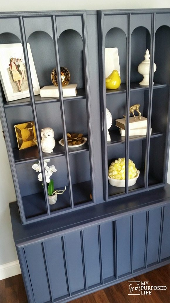 navy blue mid century modern thrift store hutch makeover MyRepurposedLife.com