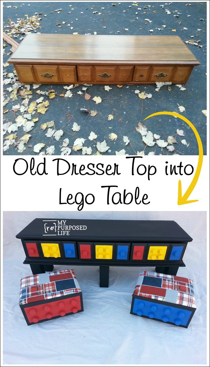 old dresser top into lego table and stools MyRepurposedLife.com