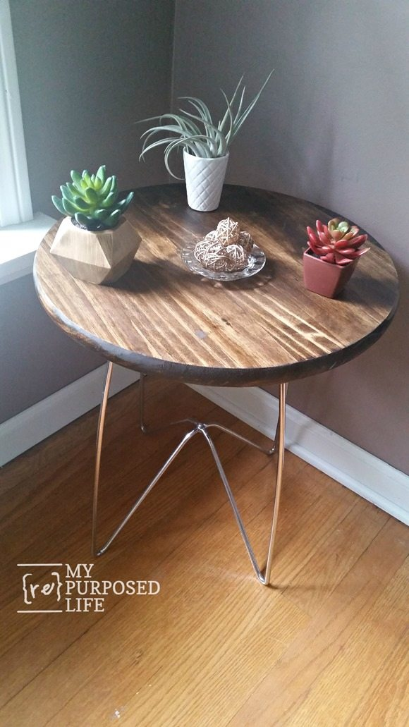 round wooden table with metal legs MyRepurposedLife.com