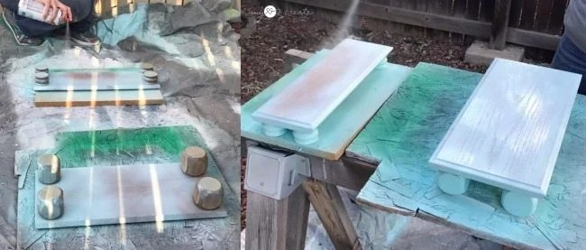 spray painting drawer front serving trays