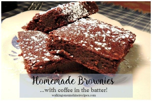 Homemade Brownies with Coffee in the Batter from Walking on Sunshine