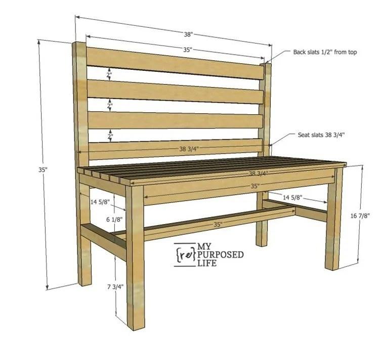 easy plans for diy wooden slat bench with back MyRepurposedLife.com