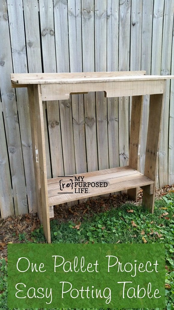 how to make a potting table from a single pallet MyRepurposedLife.com
