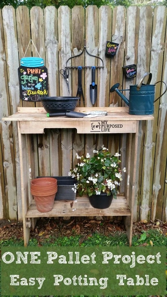 One Pallet Project Easy Potting Table My Repurposed Life