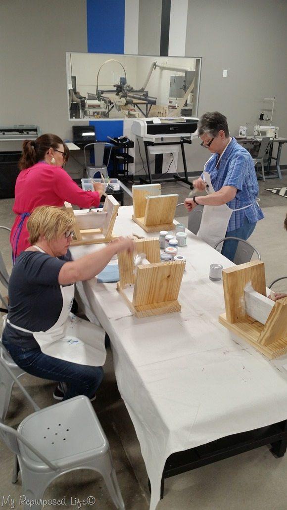 painting stools at maker 13