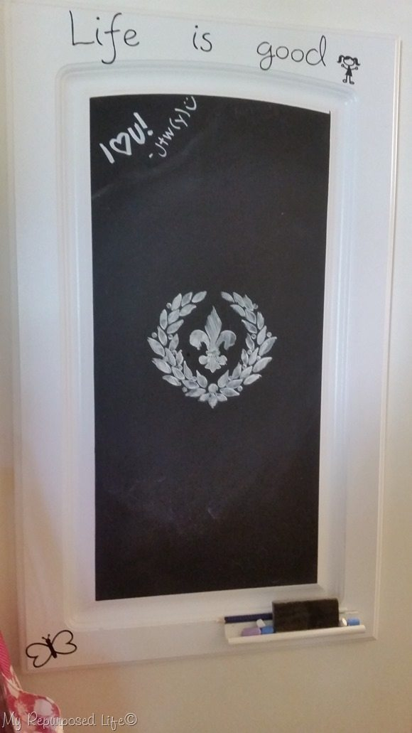stenciled fleur-de-lis design on chalkboard