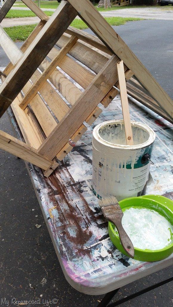 white wash wood slat bench