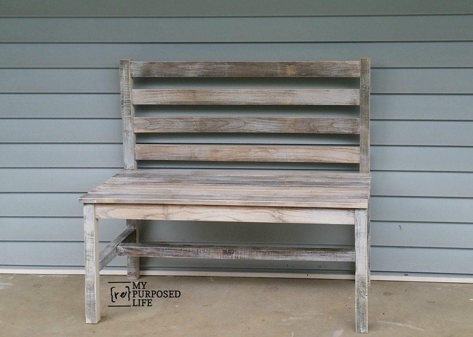 white washed wooden slat bench with back MyRepurposedLife.com