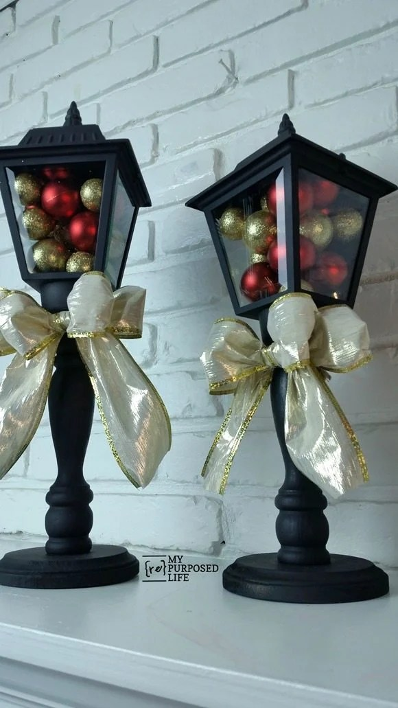 DIY Christmas Lanterns made from Porch Lights  My