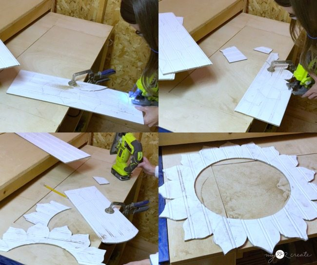cutting out flower shape with jigsaw