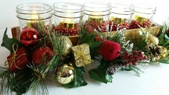 jelly jar Christmas centerpiece MyRepurposedLife
