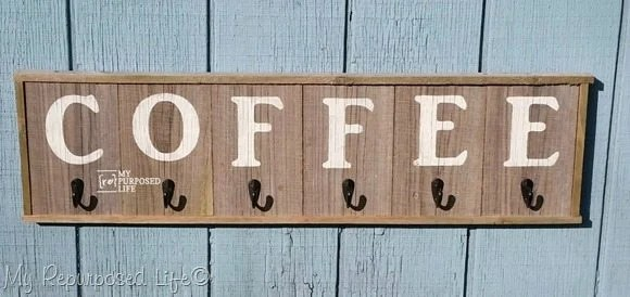 reclaimed rustic wood coffee sign mug rack MyRepurposedLife.com