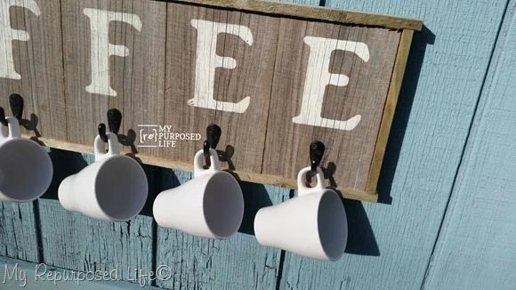 reclaimed wood coffee sign coffee cup rack MyRepurposedLife.com