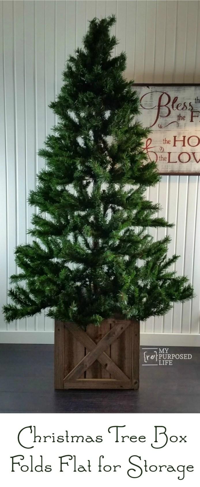 Christmas Tree Stand Box folds flat for storage MyRepurposedLife.com