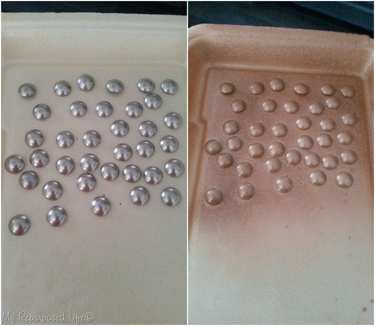 spray painted thumb tacks faux rivets for octagon tray