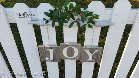 white picket fence Joy spindle sign Christmas Decor