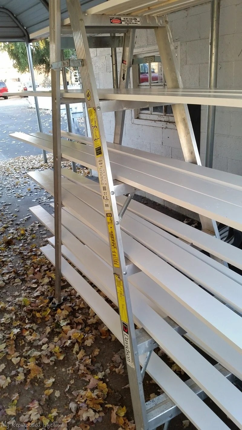 mobile ladder dries door trim boards