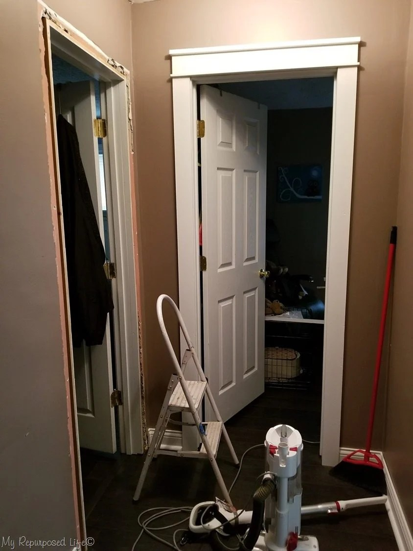 removing old door trim cleanup for craftsman style door trim